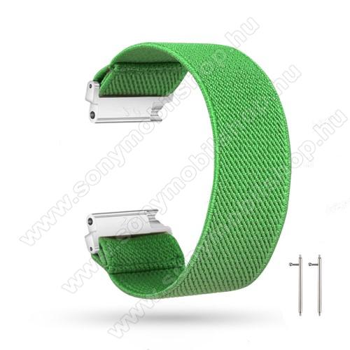 Okosóra szíj - szövet, sztreccses, 145mm hosszú, 20mm széles, 160mm-től 210mm-es méretű csuklóig ajánlott - ZÖLD - SAMSUNG Galaxy Watch 42mm / Amazfit GTS / HUAWEI Watch GT 2 42mm / Galaxy Watch Active / Active 2