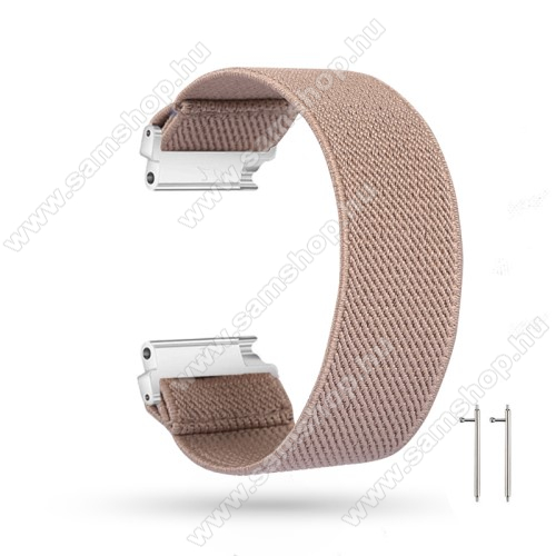 Okosóra szíj - szövet, sztreccses, 145mm hosszú, 20mm széles, 160mm-től 210mm-es méretű csuklóig ajánlott - KHAKI - SAMSUNG Galaxy Watch 42mm / Amazfit GTS / HUAWEI Watch GT 2 42mm / Galaxy Watch Active / Active 2