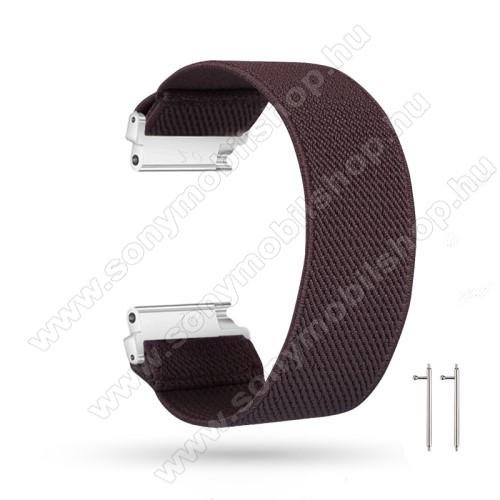 Okosóra szíj - szövet, sztreccses, 145mm hosszú, 20mm széles, 160mm-től 210mm-es méretű csuklóig ajánlott - KÁVÉBARNA - SAMSUNG Galaxy Watch 42mm / Amazfit GTS / HUAWEI Watch GT 2 42mm / Galaxy Watch Active / Active 2