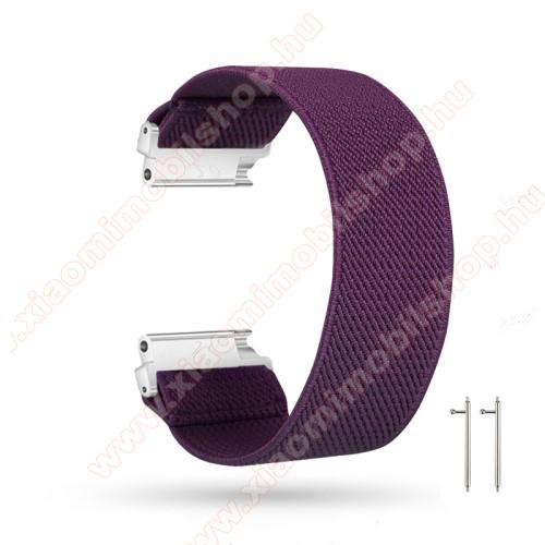 Okosóra szíj - szövet, sztreccses, 145mm hosszú, 20mm széles, 160mm-től 210mm-es méretű csuklóig ajánlott - LILA - SAMSUNG Galaxy Watch 42mm / Amazfit GTS / HUAWEI Watch GT 2 42mm / Galaxy Watch Active / Active 2