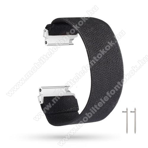 Okosóra szíj - szövet, sztreccses, 145mm hosszú, 22mm széles, 160mm-től 210mm-es méretű csuklóig ajánlott - FEKETE - SAMSUNG Galaxy Watch 46mm / Watch GT2 46mm / Watch GT 2e / Gear S3 Frontier / Honor MagicWatch 2 46mm
