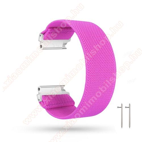 Okosóra szíj - szövet, sztreccses, 145mm hosszú, 22mm széles, 160mm-től 210mm-es méretű csuklóig ajánlott - MAGENTA - SAMSUNG Galaxy Watch 46mm / Watch GT2 46mm / Watch GT 2e / Gear S3 Frontier / Honor MagicWatch 2 46mm