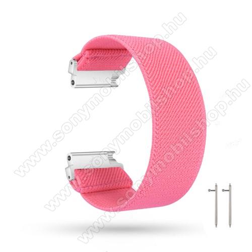 Okosóra szíj - szövet, sztreccses, 145mm hosszú, 22mm széles, 160mm-től 210mm-es méretű csuklóig ajánlott - RÓZSASZÍN - SAMSUNG Galaxy Watch 46mm / Watch GT2 46mm / Watch GT 2e / Gear S3 Frontier / Honor MagicWatch 2 46mm
