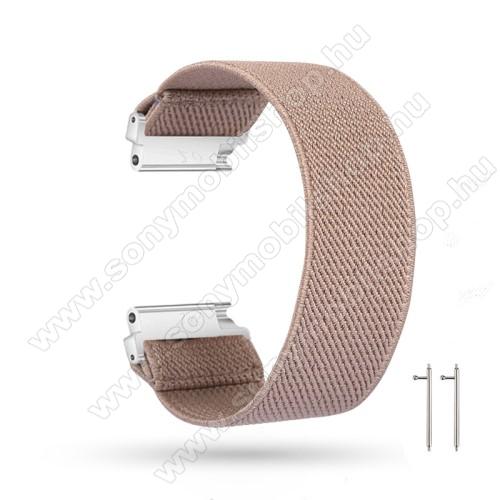 Okosóra szíj - szövet, sztreccses, 145mm hosszú, 22mm széles, 160mm-től 210mm-es méretű csuklóig ajánlott - KHAKI - SAMSUNG Galaxy Watch 46mm / Watch GT2 46mm / Watch GT 2e / Gear S3 Frontier / Honor MagicWatch 2 46mm