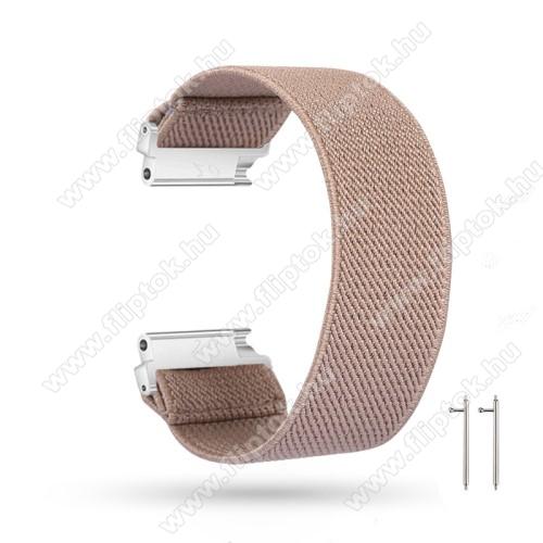 ZTE Watch GTOkosóra szíj - szövet, sztreccses, 145mm hosszú, 22mm széles, 160mm-től 210mm-es méretű csuklóig ajánlott - KHAKI - SAMSUNG Galaxy Watch 46mm / Watch GT2 46mm / Watch GT 2e / Gear S3 Frontier / Honor MagicWatch 2 46mm