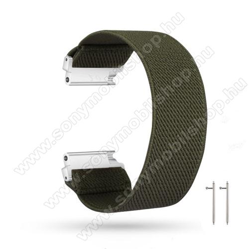 Okosóra szíj - szövet, sztreccses, 145mm hosszú, 22mm széles, 160mm-től 210mm-es méretű csuklóig ajánlott - SÖTÉTZÖLD - SAMSUNG Galaxy Watch 46mm / Watch GT2 46mm / Watch GT 2e / Gear S3 Frontier / Honor MagicWatch 2 46mm