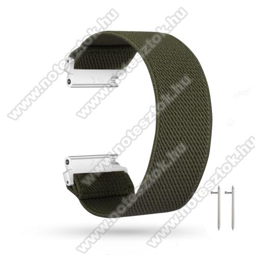 ZTE Watch GTOkosóra szíj - szövet, sztreccses, 145mm hosszú, 22mm széles, 160mm-től 210mm-es méretű csuklóig ajánlott - SÖTÉTZÖLD - SAMSUNG Galaxy Watch 46mm / Watch GT2 46mm / Watch GT 2e / Gear S3 Frontier / Honor MagicWatch 2 46mm