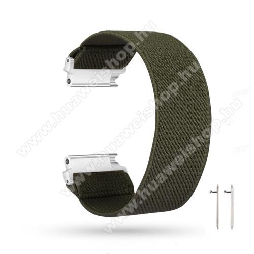HUAWEI Watch GT 2eOkosóra szíj - szövet, sztreccses, 145mm hosszú, 22mm széles, 160mm-től 210mm-es méretű csuklóig ajánlott - SÖTÉTZÖLD - SAMSUNG Galaxy Watch 46mm / Watch GT2 46mm / Watch GT 2e / Gear S3 Frontier / Honor MagicWatch 2 46mm