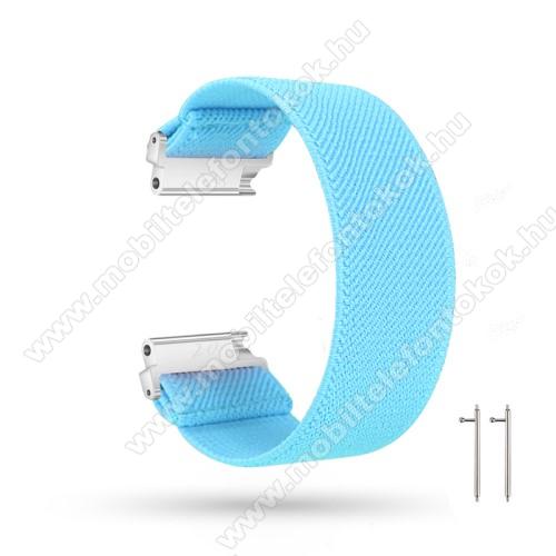Okosóra szíj - szövet, sztreccses, 145mm hosszú, 22mm széles, 160mm-től 210mm-es méretű csuklóig ajánlott - VILÁGOSKÉK - SAMSUNG Galaxy Watch 46mm / Watch GT2 46mm / Watch GT 2e / Gear S3 Frontier / Honor MagicWatch 2 46mm