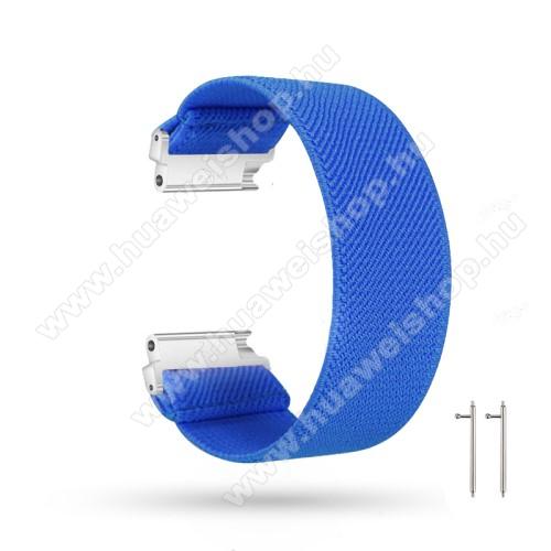 HUAWEI Watch GT 2eOkosóra szíj - szövet, sztreccses, 145mm hosszú, 22mm széles, 160mm-től 210mm-es méretű csuklóig ajánlott - SÖTÉTKÉK - SAMSUNG Galaxy Watch 46mm / Watch GT2 46mm / Watch GT 2e / Gear S3 Frontier / Honor MagicWatch 2 46mm