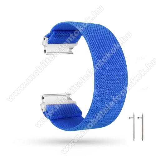 Okosóra szíj - szövet, sztreccses, 145mm hosszú, 22mm széles, 160mm-től 210mm-es méretű csuklóig ajánlott - SÖTÉTKÉK - SAMSUNG Galaxy Watch 46mm / Watch GT2 46mm / Watch GT 2e / Gear S3 Frontier / Honor MagicWatch 2 46mm