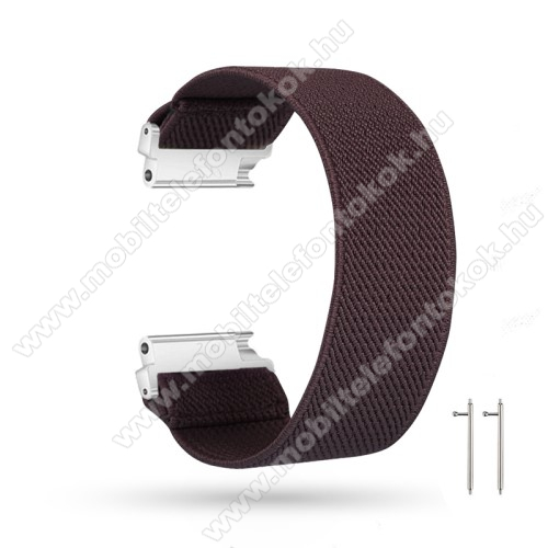 Okosóra szíj - szövet, sztreccses, 145mm hosszú, 22mm széles, 160mm-től 210mm-es méretű csuklóig ajánlott - KÁVÉBARNA - SAMSUNG Galaxy Watch 46mm / Watch GT2 46mm / Watch GT 2e / Gear S3 Frontier / Honor MagicWatch 2 46mm