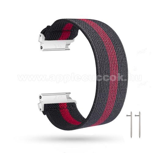 Okosóra szíj - szövet, sztreccses, 145mm hosszú, 20mm széles, 160mm-től 210mm-es méretű csuklóig ajánlott - FEKETE / PIROS - SAMSUNG Galaxy Watch 42mm / Amazfit GTS / HUAWEI Watch GT 2 42mm / Galaxy Watch Active / Active 2