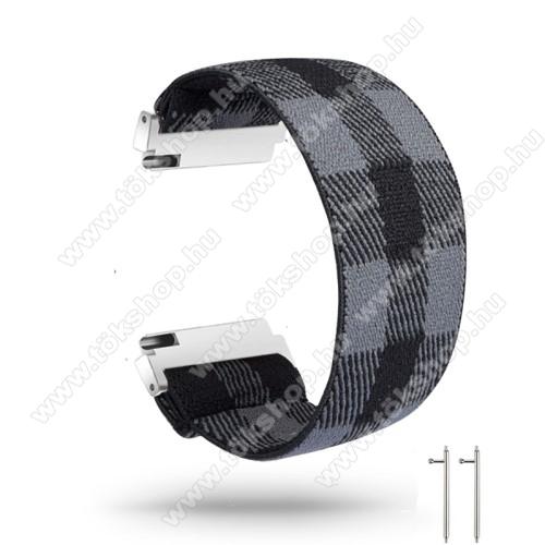 Okosóra szíj - szövet, sztreccses, 145mm hosszú, 20mm széles, 160mm-től 210mm-es méretű csuklóig ajánlott - FEKETE / SZÜRKE - SAMSUNG Galaxy Watch 42mm / Amazfit GTS / HUAWEI Watch GT 2 42mm / Galaxy Watch Active / Active 2