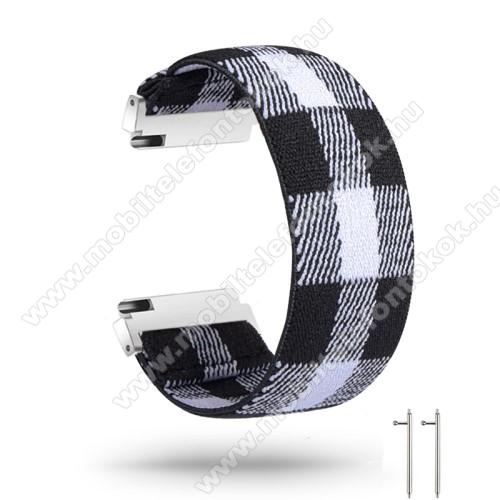 Okosóra szíj - szövet, sztreccses, 145mm hosszú, 20mm széles, 160mm-től 210mm-es méretű csuklóig ajánlott - FEKETE / FEHÉR - SAMSUNG Galaxy Watch 42mm / Amazfit GTS / HUAWEI Watch GT 2 42mm / Galaxy Watch Active / Active 2