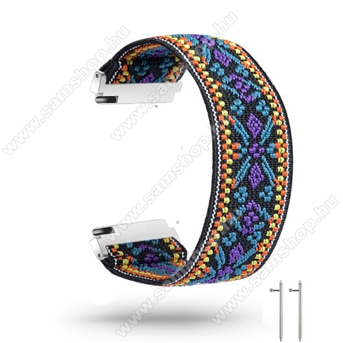 Okosóra szíj - szövet, sztreccses, 145mm hosszú, 20mm széles, 160mm-től 210mm-es méretű csuklóig ajánlott - HÍMZETT NEMZETI MINTÁS - SAMSUNG Galaxy Watch 42mm / Amazfit GTS / HUAWEI Watch GT 2 42mm / Galaxy Watch Active / Active 2