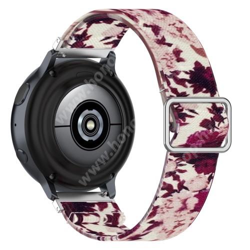 Okosóra szíj - szövet, sztreccses, állítható - RÓZSA MINTÁS - 222mm hosszú, 22mm széles - SAMSUNG Galaxy Watch 46mm / Watch GT2 46mm / Watch GT 2e / Galaxy Watch3 45mm / Honor MagicWatch 2 46mm