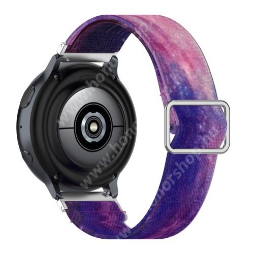 Okosóra szíj - szövet, sztreccses, állítható - LILA / RÓZSASZÍN MINTÁS - 222mm hosszú, 22mm széles - SAMSUNG Galaxy Watch 46mm / Watch GT2 46mm / Watch GT 2e / Galaxy Watch3 45mm / Honor MagicWatch 2 46mm