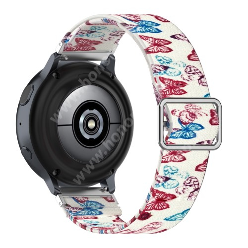 Okosóra szíj - szövet, sztreccses, állítható - SZÍNES PILLANGÓ MINTÁS - 222mm hosszú, 22mm széles - SAMSUNG Galaxy Watch 46mm / Watch GT2 46mm / Watch GT 2e / Galaxy Watch3 45mm / Honor MagicWatch 2 46mm