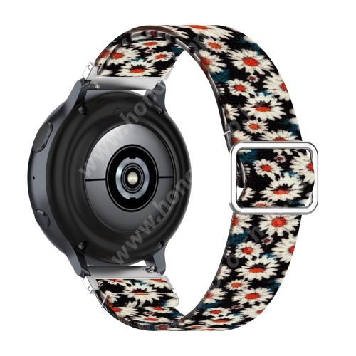 Okosóra szíj - szövet, sztreccses, állítható - KRIZANTÉM MINTÁS - 222mm hosszú, 22mm széles - SAMSUNG Galaxy Watch 46mm / Watch GT2 46mm / Watch GT 2e / Galaxy Watch3 45mm / Honor MagicWatch 2 46mm