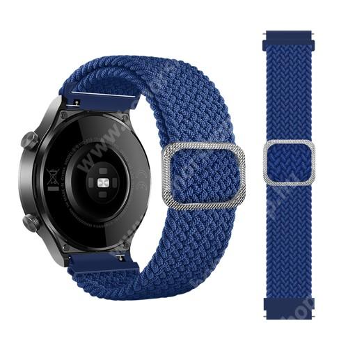 Okosóra szíj - szövet, sztreccses, állítható - KÉK - 240mm hosszú, 22mm széles - SAMSUNG Galaxy Watch 46mm / Watch GT2 46mm / Watch GT 2e / Galaxy Watch3 45mm / Honor MagicWatch 2 46mm