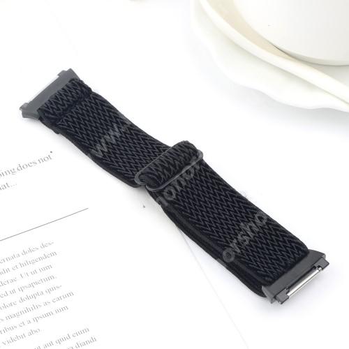 Okosóra szíj - szövet, sztreccses, állítható - FEKETE - 180mm hosszú - Fitbit Ionic