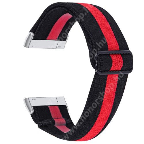 Okosóra szíj - szövet, sztreccses, állítható - FEKETE / PIROS - 190mm hosszú - Fitbit Versa 3 / Fitbit Sense