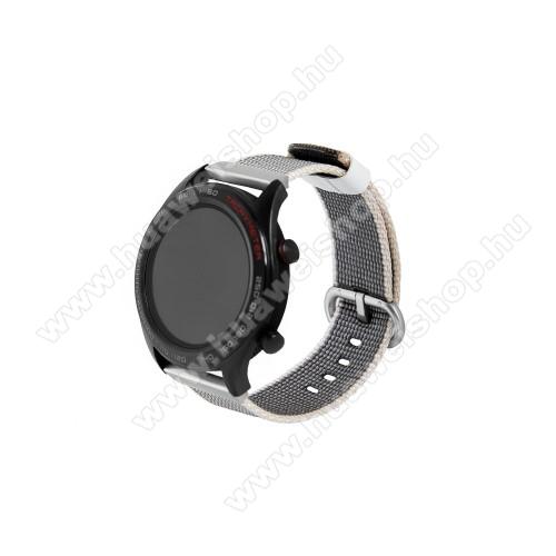 HUAWEI Watch 2 ProOkosóra szíj - szövet - SZÜRKE - 113mm + 81mm hosszú, 20mm széles - HUAWEI Watch GT / HUAWEI Watch Magic