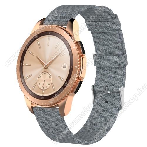 Okosóra szíj - szövet - SZÜRKE - 115mm + 90mm hosszú, 20mm széles - SAMSUNG Galaxy Watch 42mm / Xiaomi Amazfit GTS / SAMSUNG Gear S2 / HUAWEI Watch GT 2 42mm / Galaxy Watch Active / Active 2