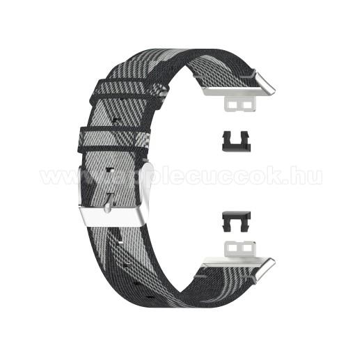 Okosóra szíj - szövet - SZÜRKE / FEKETE - 117 + 92mm hosszú, 22.5mm széles - HUAWEI Watch Fit