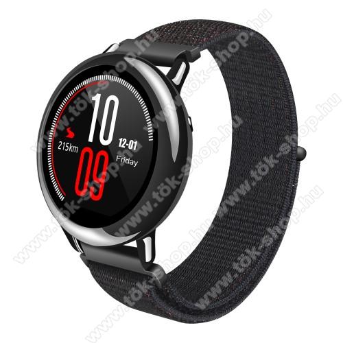 HUAWEI Honor MagicWatch 2 46mmOkosóra szíj - szövet, tépőzáras - 195mm hosszú, 22mm széles - FEKETE - SAMSUNG Galaxy Watch 46mm / SAMSUNG Gear S3 Classic / SAMSUNG Gear S3 Frontier