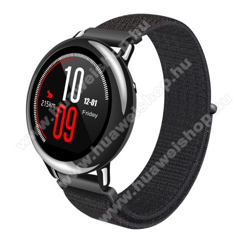 HUAWEI Watch GT 2 46mmOkosóra szíj - szövet, tépőzáras - 195mm hosszú, 22mm széles - FEKETE - SAMSUNG Galaxy Watch 46mm / SAMSUNG Gear S3 Classic / SAMSUNG Gear S3 Frontier