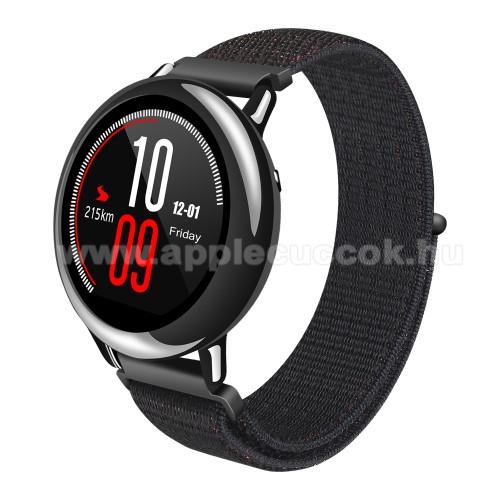 Okosóra szíj - szövet, tépőzáras - 195mm hosszú, 20mm széles - FEKETE - SAMSUNG Galaxy Watch 46mm / SAMSUNG Gear S3 Classic / SAMSUNG Gear S3 Frontier