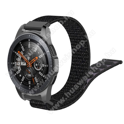 HUAWEI Watch GT 2 46mm Okosóra szíj - szövet, tépőzáras - 205mm hosszú, 22mm széles - FEKETE - SAMSUNG Galaxy Watch 46mm / SAMSUNG Gear S3 Classic / SAMSUNG Gear S3 Frontier / HUAWEI Watch GT / Watch GT 2 46mm / HUAWEI Watch Magic