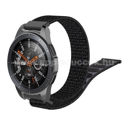 Okosóra szíj - szövet, tépőzáras - 205mm hosszú, 22mm széles - FEKETE - SAMSUNG Galaxy Watch 46mm / SAMSUNG Gear S3 Classic / SAMSUNG Gear S3 Frontier / HUAWEI Watch GT / Watch GT 2 46mm / HUAWEI Watch Magic
