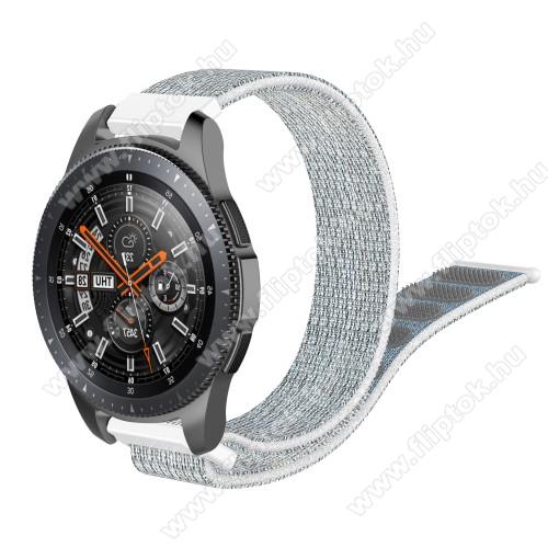 ZTE Watch GTOkosóra szíj - szövet, tépőzáras - 205mm hosszú, 22mm széles - SZÜRKE / FEHÉR - SAMSUNG Galaxy Watch 46mm / SAMSUNG Gear S3 Classic / SAMSUNG Gear S3 Frontier / HUAWEI Watch GT / Watch GT 2 46mm / HUAWEI Watch Magic