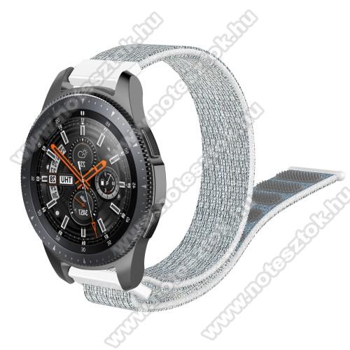 WOTCHI Smartwatch WT35BLLOkosóra szíj - szövet, tépőzáras - 205mm hosszú, 22mm széles - SZÜRKE / FEHÉR - SAMSUNG Galaxy Watch 46mm / SAMSUNG Gear S3 Classic / SAMSUNG Gear S3 Frontier / HUAWEI Watch GT / Watch GT 2 46mm / HUAWEI Watch Magic