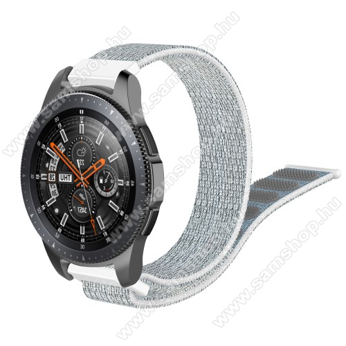 Okosóra szíj - szövet, tépőzáras - 205mm hosszú, 22mm széles - SZÜRKE / FEHÉR - SAMSUNG Galaxy Watch 46mm / SAMSUNG Gear S3 Classic / SAMSUNG Gear S3 Frontier / HUAWEI Watch GT / Watch GT 2 46mm / HUAWEI Watch Magic