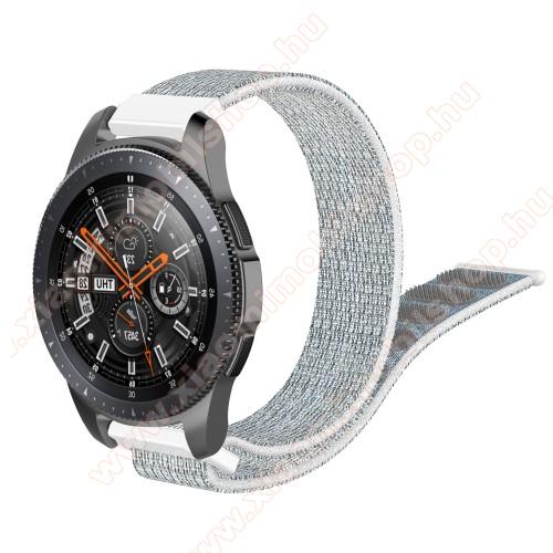Xiaomi Amazfit Stratos 3Okosóra szíj - szövet, tépőzáras - 205mm hosszú, 22mm széles - SZÜRKE / FEHÉR - SAMSUNG Galaxy Watch 46mm / SAMSUNG Gear S3 Classic / SAMSUNG Gear S3 Frontier / HUAWEI Watch GT / Watch GT 2 46mm / HUAWEI Watch Magic