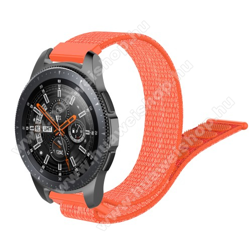 Okosóra szíj - szövet, tépőzáras - 205mm hosszú, 22mm széles - NARANCS - SAMSUNG Galaxy Watch 46mm / SAMSUNG Gear S3 Classic / SAMSUNG Gear S3 Frontier / HUAWEI Watch GT / Watch GT 2 46mm / HUAWEI Watch Magic