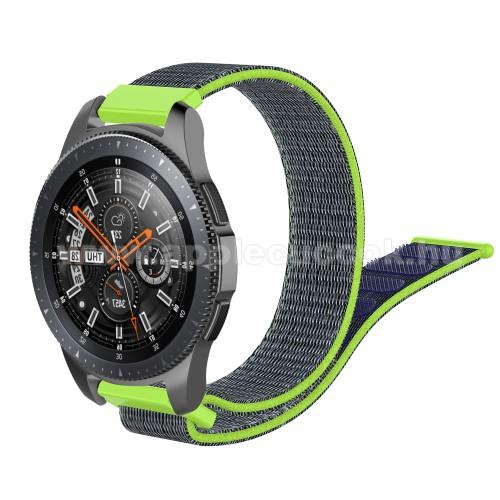 Okosóra szíj - szövet, tépőzáras - 205mm hosszú, 22mm széles - ZÖLD / KÉK - SAMSUNG Galaxy Watch 46mm / SAMSUNG Gear S3 Classic / SAMSUNG Gear S3 Frontier / HUAWEI Watch GT / Watch GT 2 46mm / HUAWEI Watch Magic