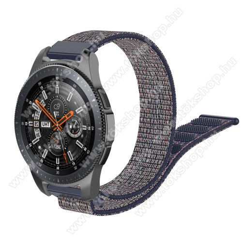 Okosóra szíj - szövet, tépőzáras - 205mm hosszú, 22mm széles - KÉK - SAMSUNG Galaxy Watch 46mm / SAMSUNG Gear S3 Classic / SAMSUNG Gear S3 Frontier / HUAWEI Watch GT / Watch GT 2 46mm /  HUAWEI Watch Magic