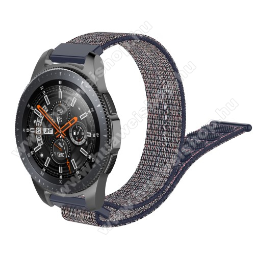 HUAWEI Watch GT 2 46mm Okosóra szíj - szövet, tépőzáras - 205mm hosszú, 22mm széles - KÉK - SAMSUNG Galaxy Watch 46mm / SAMSUNG Gear S3 Classic / SAMSUNG Gear S3 Frontier / HUAWEI Watch GT / Watch GT 2 46mm /  HUAWEI Watch Magic