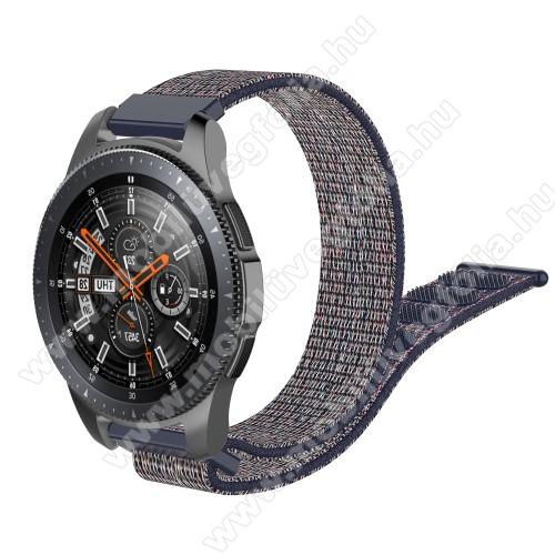 HUAWEI Honor MagicWatch 2 46mmOkosóra szíj - szövet, tépőzáras - 205mm hosszú, 22mm széles - KÉK - SAMSUNG Galaxy Watch 46mm / SAMSUNG Gear S3 Classic / SAMSUNG Gear S3 Frontier / HUAWEI Watch GT / Watch GT 2 46mm /  HUAWEI Watch Magic
