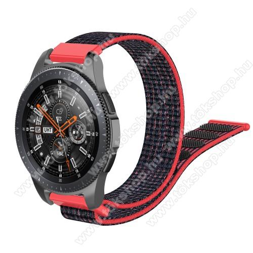 Okosóra szíj - szövet, tépőzáras - 205mm hosszú, 22mm széles - FEKETE / PIROS - SAMSUNG Galaxy Watch 46mm / SAMSUNG Gear S3 Classic / Gear S3 Frontier / HUAWEI Watch GT / Watch GT 2 46mm / HUAWEI Watch Magic