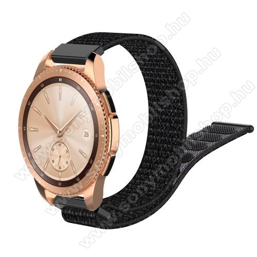 Okosóra szíj - szövet, tépőzáras - 210mm hosszú, 20mm széles - FEKETE - SAMSUNG Galaxy Watch 42mm / Xiaomi Amazfit GTS / SAMSUNG Gear S2 / HUAWEI Watch GT 2 42mm / Galaxy Watch Active / Active 2