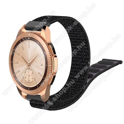 HUAWEI MagicWatch 2 42mmOkosóra szíj - szövet, tépőzáras - 210mm hosszú, 20mm széles - FEKETE - SAMSUNG Galaxy Watch 42mm / Xiaomi Amazfit GTS / HUAWEI Watch GT / SAMSUNG Gear S2 / HUAWEI Watch GT 2 42mm / Galaxy Watch Active / Active 2 / Galaxy Gear Sport