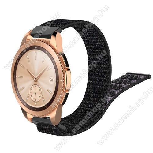 SAMSUNG SM-R600 Galaxy Gear SportOkosóra szíj - szövet, tépőzáras - 210mm hosszú, 20mm széles - FEKETE - SAMSUNG Galaxy Watch 42mm / Xiaomi Amazfit GTS / HUAWEI Watch GT / SAMSUNG Gear S2 / HUAWEI Watch GT 2 42mm / Galaxy Watch Active / Active 2 / Galaxy Gear Sport