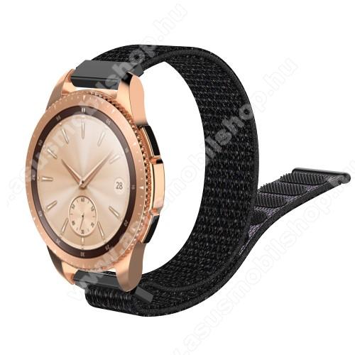 Okosóra szíj - szövet, tépőzáras - 210mm hosszú, 20mm széles - FEKETE - SAMSUNG Galaxy Watch 42mm / Xiaomi Amazfit GTS / HUAWEI Watch GT / SAMSUNG Gear S2 / HUAWEI Watch GT 2 42mm / Galaxy Watch Active / Active 2 / Galaxy Gear Sport