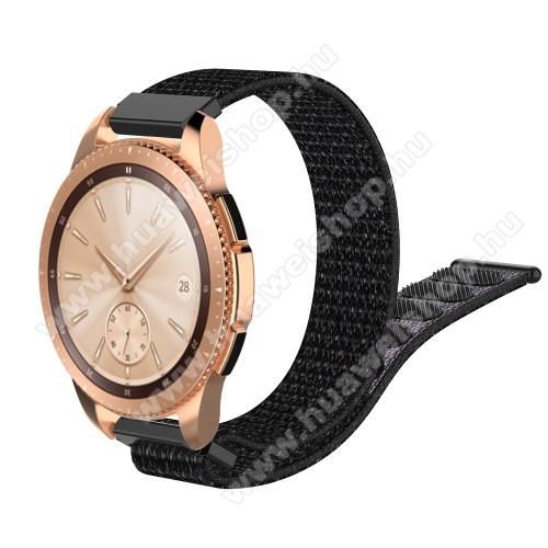 HUAWEI Watch GT 2 42mmOkosóra szíj - szövet, tépőzáras - 210mm hosszú, 19mm széles - FEKETE - SAMSUNG SM-R600 Galaxy Gear Sport / SAMSUNG SM-R810NZ Galaxy Watch 42mm / SAMSUNG SM-R720 Gear S2 Classic